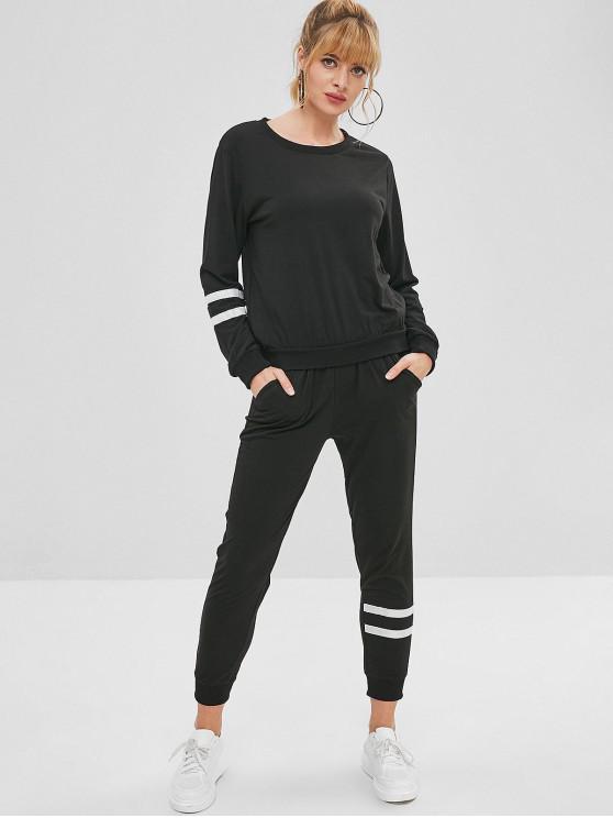 Ensemble de Sweat-shirt Panneau Rayé et de Pantalon - Noir XL
