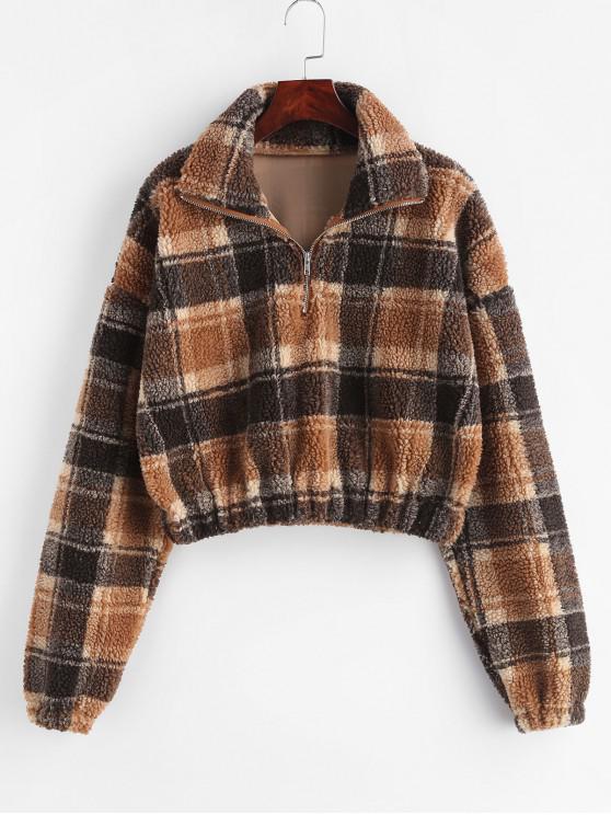 trendy Plaid Crop Faux Fur Sweatshirt - MULTI L