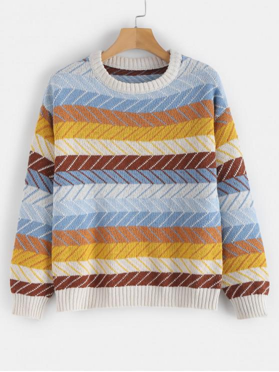 trendy Zigzag Graphic Color Block Sweater - MULTI ONE SIZE