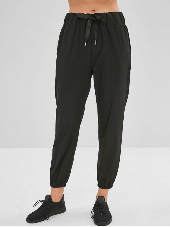 unique Plain High Waisted Jogger Pants - BLACK M