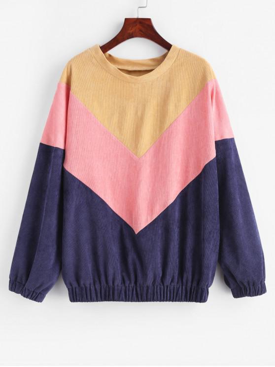 Sweat-shirt en Blocs de Couleurs en Velours Côtelé - Multi L
