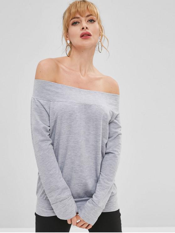 buy Plain Off Shoulder Sweatshirt - GRAY CLOUD L