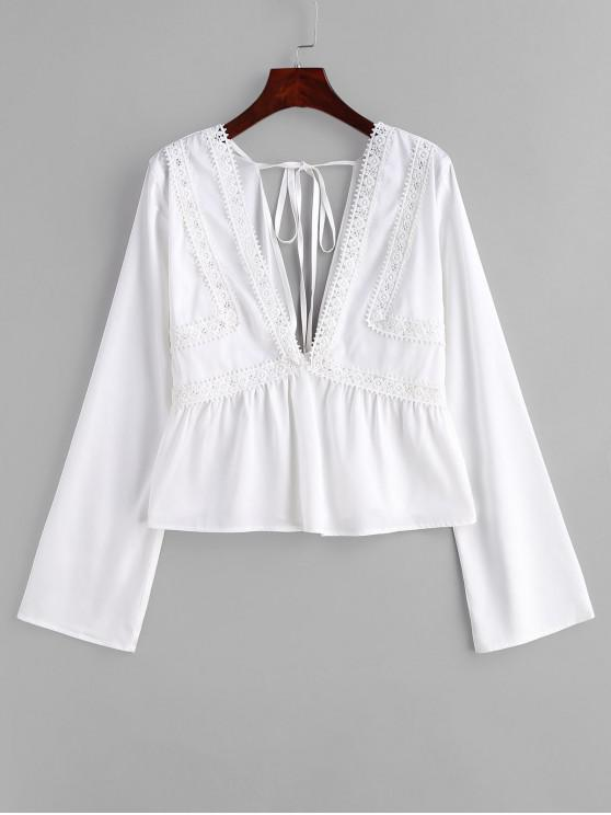 outfit ZAFUL Lace Panel Low Cut Blouse - WHITE L