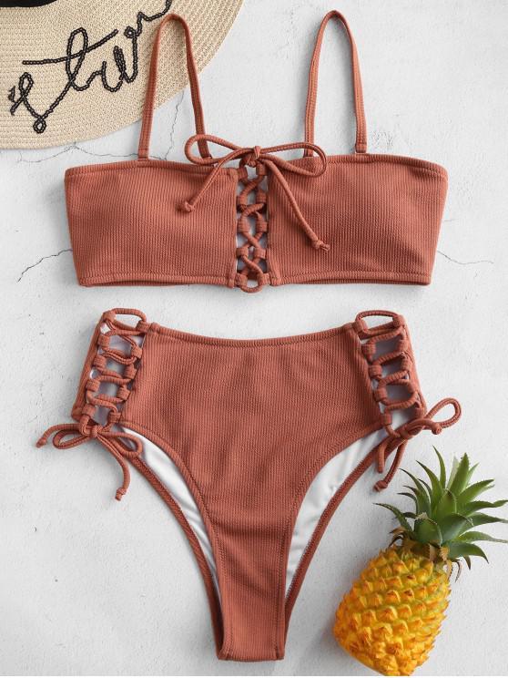 outfit Ribbed Lace Up Bikini Set - TIGER ORANGE L