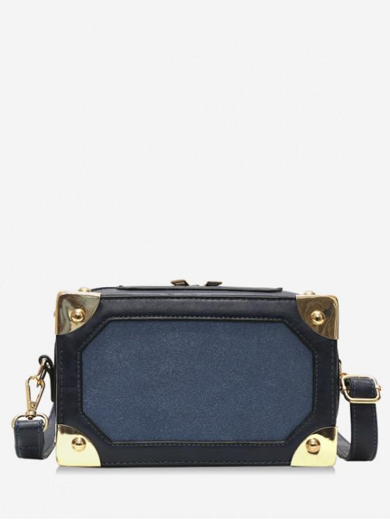 womens Square Box Shape Zipper Crossbody Bag - DARK SLATE BLUE