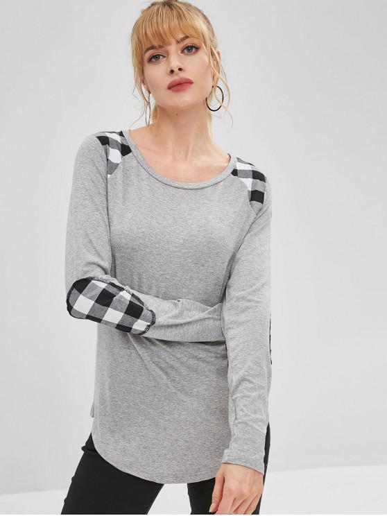 Camiseta de manga larga a cuadros con parche de codo - Gris Claro M