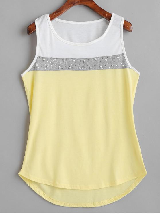 Camisola de alças de cor de pérolas do falso - Creme XL