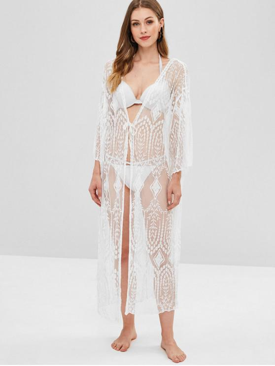 women Sheer Lace Long Kimono Beach Cover Up - WHITE ONE SIZE