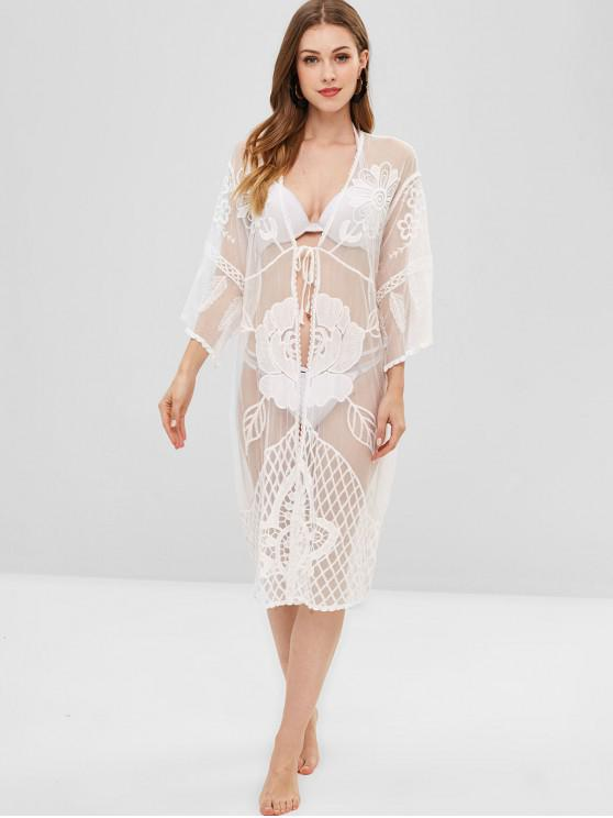 4400a97a5db90 28% OFF] 2019 Floral Lace Sheer Kimono Beach Cover Up In WHITE | ZAFUL