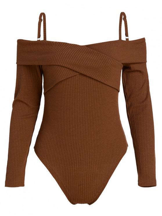 unique ZAFUL High Cut Long Sleeve Knit Bodysuit - BROWN M