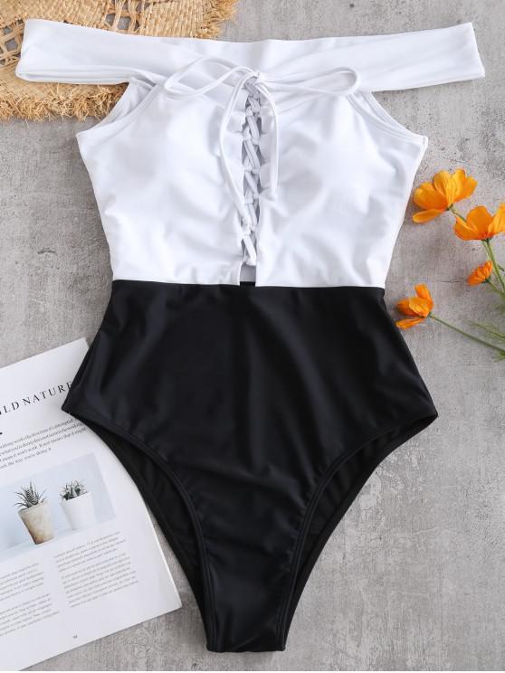 women's ZAFUL Color Block Lace Up Off Shoulder Swimsuit - BLACK L