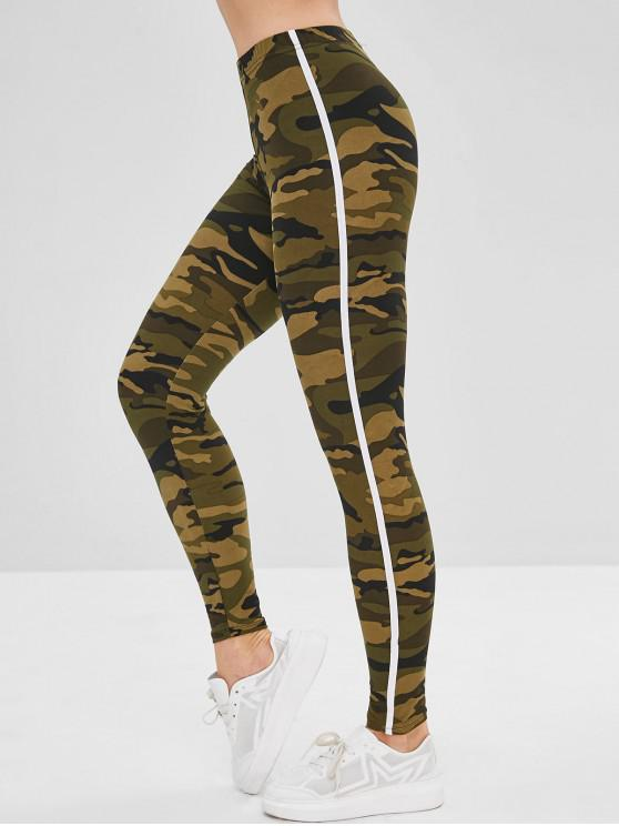 shop Striped Patched Camouflage Skinny Leggings - ARMY GREEN ONE SIZE
