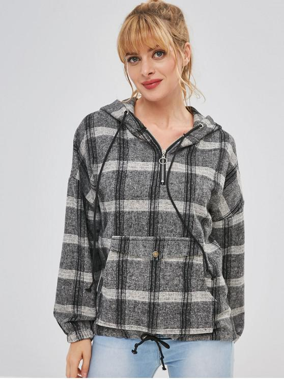 lady Plaid Half Zip Suede Hoodie - MULTI-A ONE SIZE