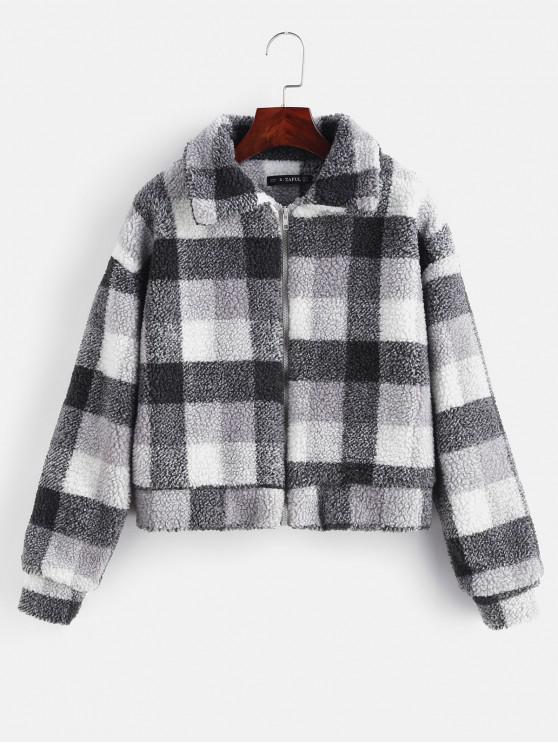 affordable Fluffy Faux Fur Short Plaid Coat - GRAY M