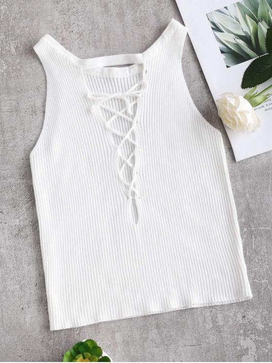 latest Crop Lace-up Knit Tank Top - WHITE ONE SIZE