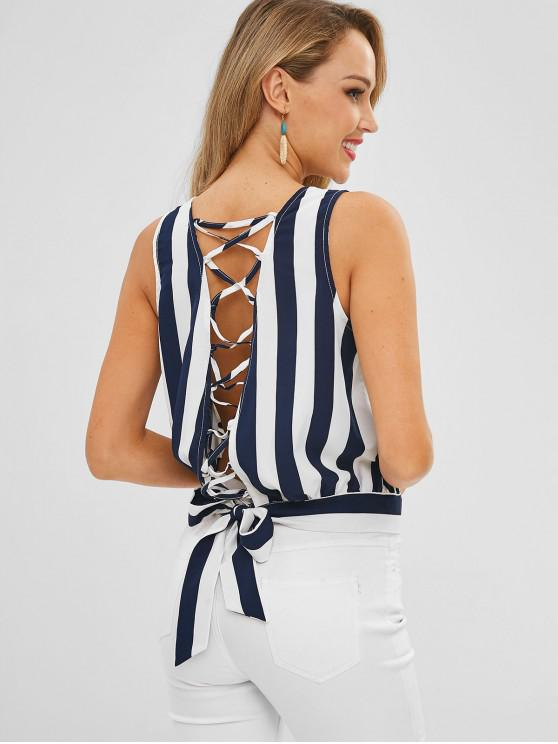 online Striped Tie Lace-up Surplice Top - MULTI S