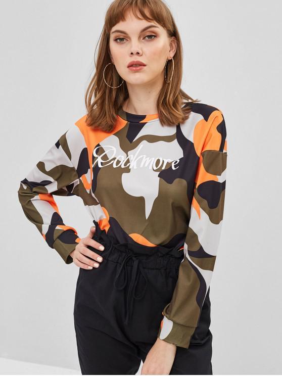 trendy Rockmore Graphic Camo Sweatshirt - MULTI-A M