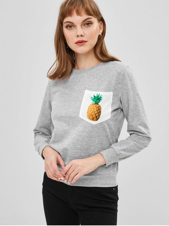 women Pineapple Pocket Sweatshirt - GRAY CLOUD M