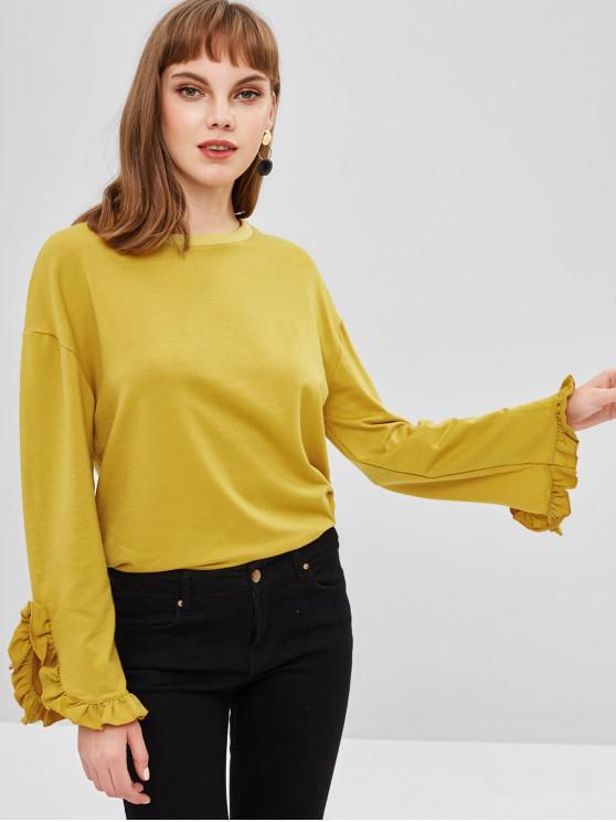 Sweat-shirt en Couleur Unie Manches à Volants - Verge d'Or S