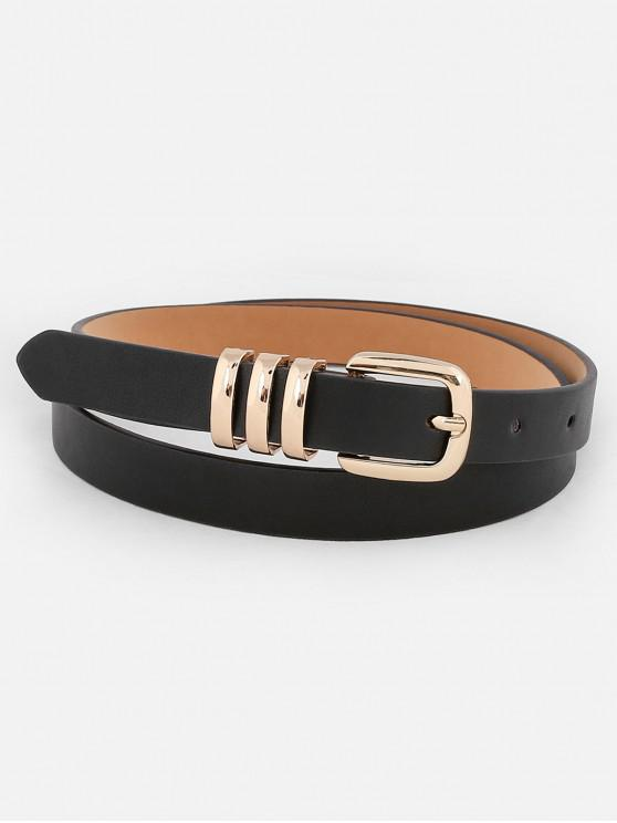 latest Alloy Buckle Embellished Faux Leather Belt - BLACK