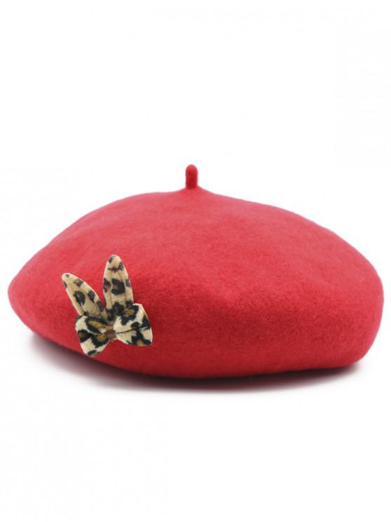 ladies Leopard Bowknot Embellished Painter Hat - RED