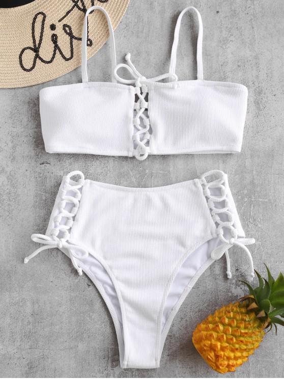 Geripptes Bikini-Set mit Schnürung - Weiß L
