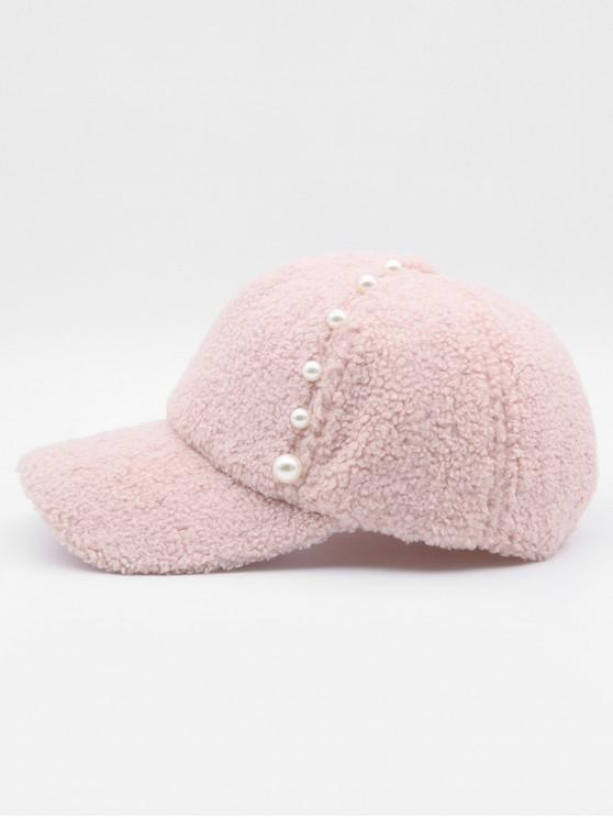 trendy Stylish Faux Pearl Embellished Baseball Cap - PINK