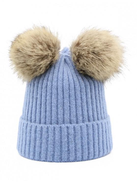 Winter Fuzzy Ball Knitting Slouchy Beanie - الحرير الأزرق