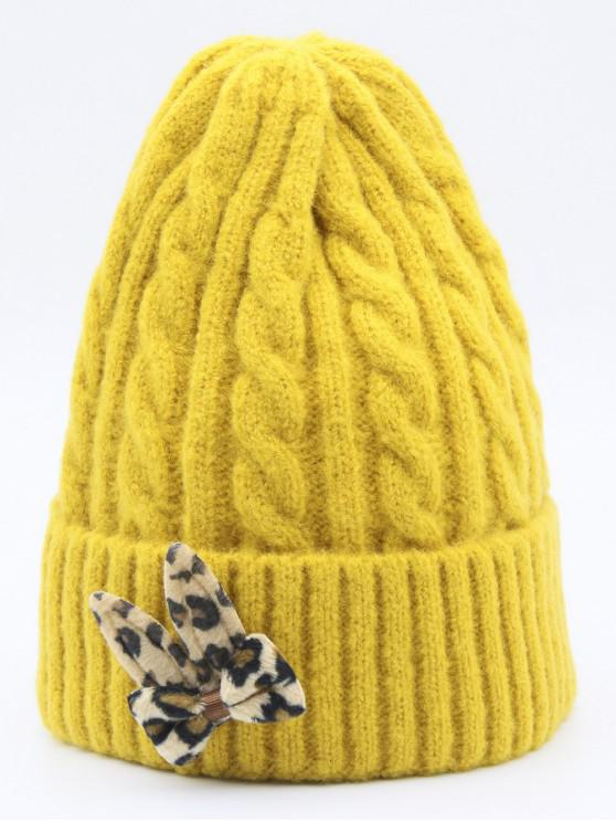 sale Leopard Bowknot Flanging Beanie - YELLOW