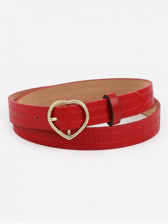 best Elegant Heart Buckle Faux Leather Belt - RED