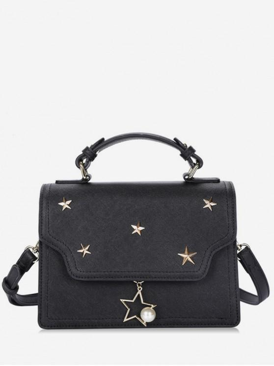 affordable Star Shape Rivets Artificial Pearl Crossbody Bag - BLACK
