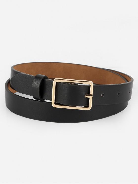 shop Simple Design Buckle Faux Leather Belt - BLACK