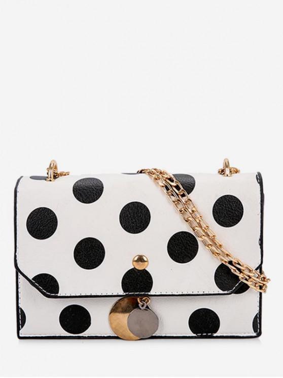 Spot Pattern Link Chain Crossbody Bag - أبيض