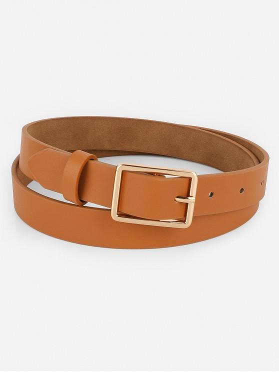 hot Simple Design Buckle Faux Leather Belt - BROWN