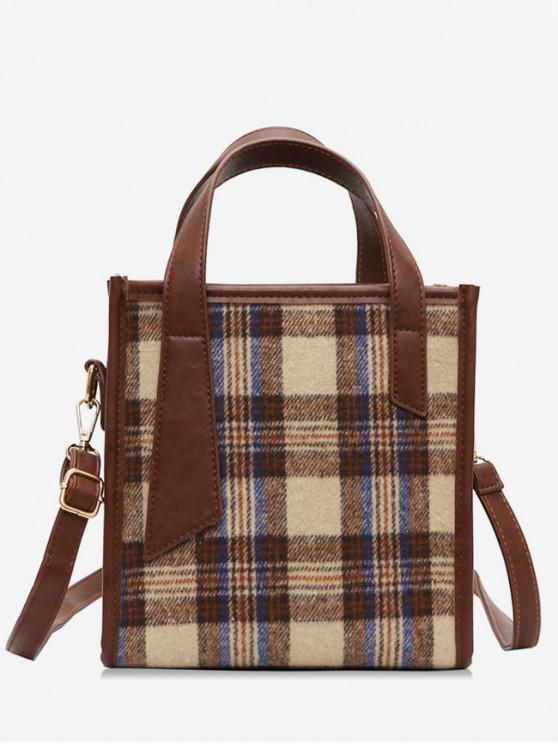 outfit Fluffy Plaid Design Zipper Handbag - BROWN