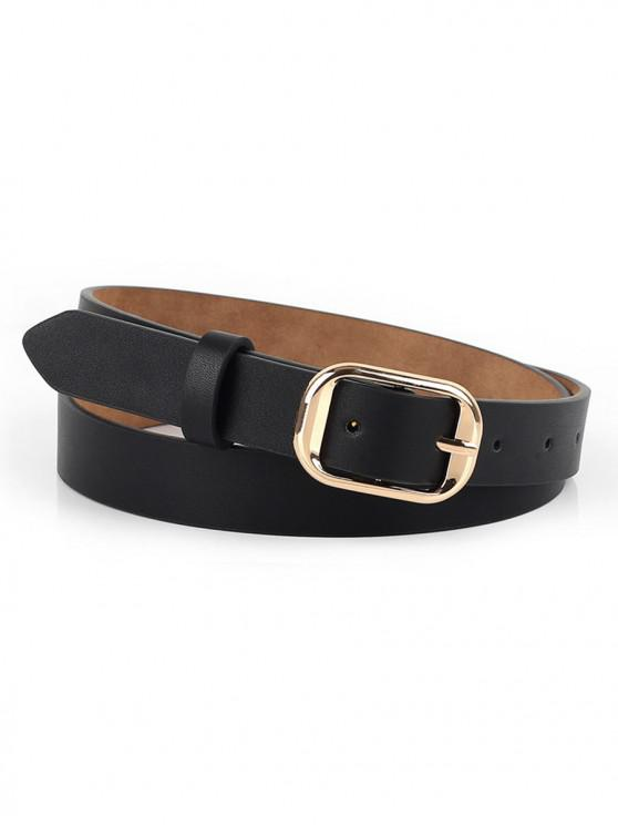 affordable Solid Color Metal Buckle Skinny Belt - BLACK