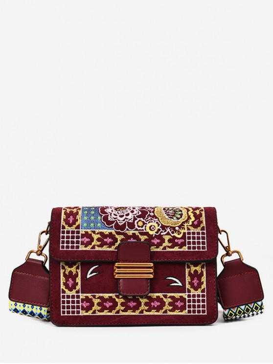 chic Embroidered Flower Ethnic Design Crossbody Bag - RED WINE