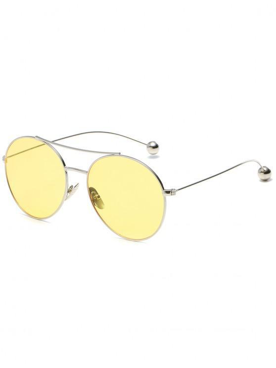 online Novelty Steel Ball Leg Oval Sunglasses - YELLOW