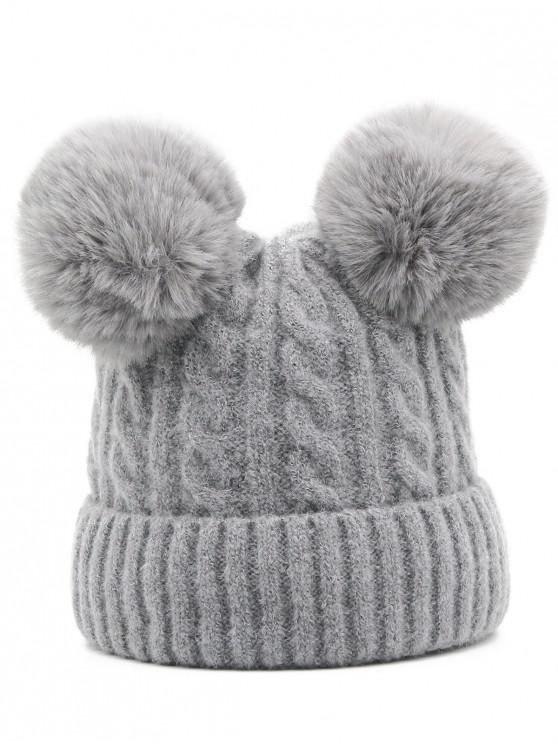hot Outdoor Fuzzy Ball Flanging Slouchy Beanie - GRAY CLOUD