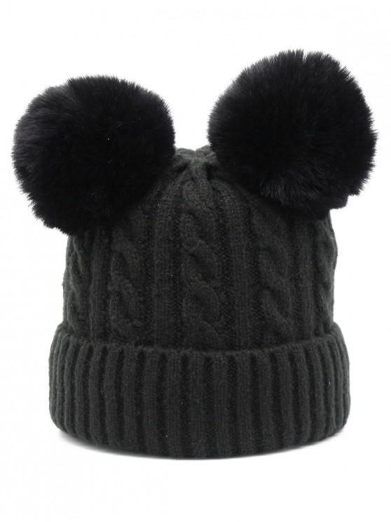 2019 Outdoor Fuzzy Ball Flanging Slouchy Beanie In BLACK  d6d878ffa22
