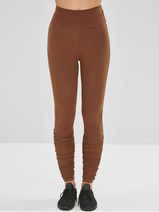 women Wide Waistband Ruched Gym Leggings - BROWN M