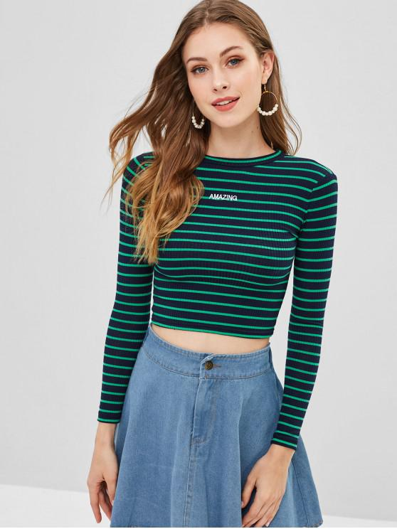 online Ribbed Long Sleeve Crop Tee - MULTI-A ONE SIZE