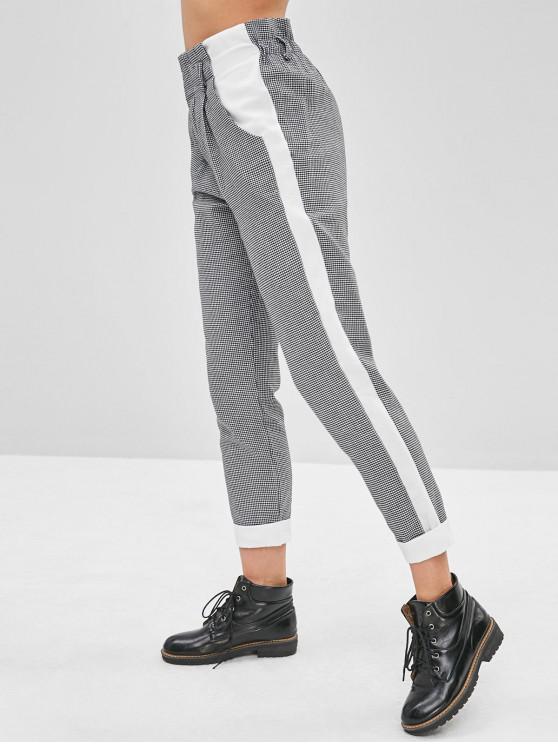 Pantaloni A Vita Alta A Pieghe Di Houndstooth - Multi Colori S