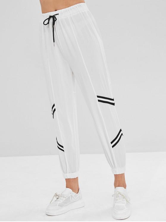 Pantaloni Da Jogging A Vita Alta A Righe In Chevron - Bianco L