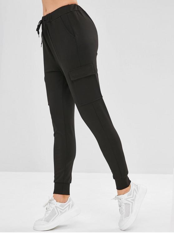 Bolsillos de parche pantalones de chándal de pista - Negro L