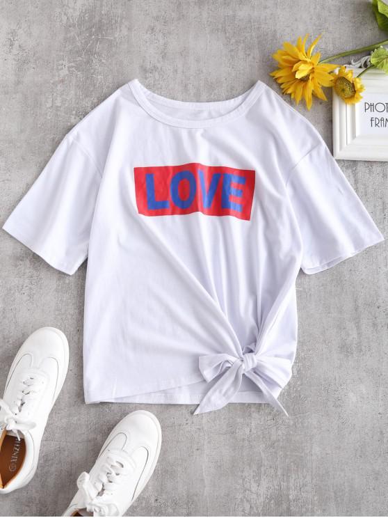Camiseta con gráfico de amor de Tie - Blanco M