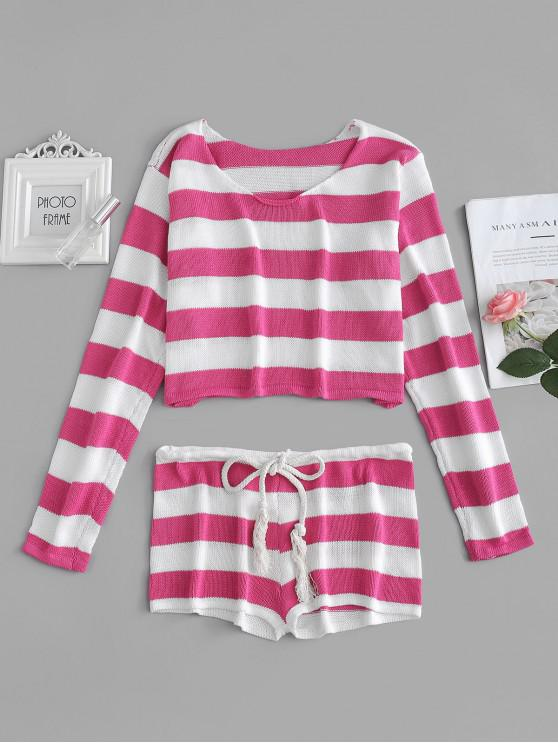 best Striped Crop Sweater and Shorts Set - PINK CUPCAKE ONE SIZE