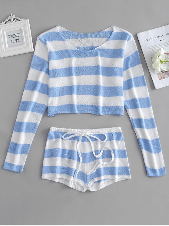 Conjunto de suéter a rayas y pantalones cortos - Celeste Ligero Talla única