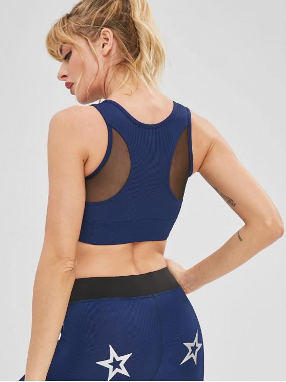 shops Padded Mesh Panel Gym Yoga Bra - DEEP BLUE M