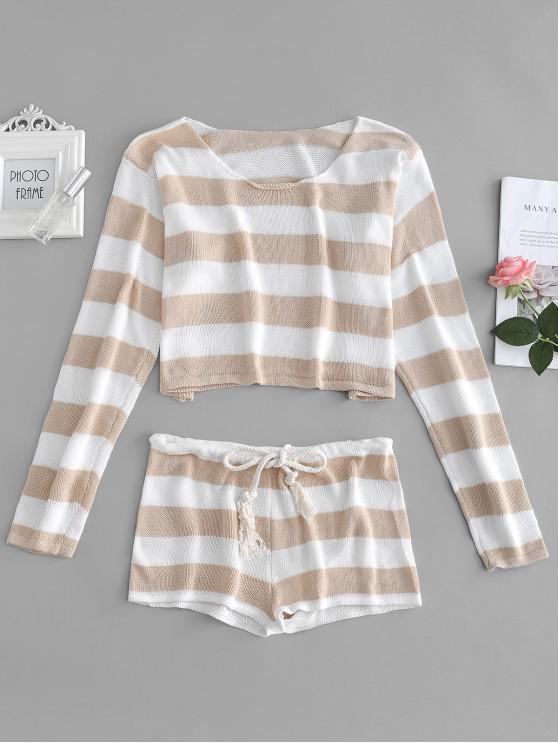 affordable Striped Crop Sweater and Shorts Set - TAN ONE SIZE